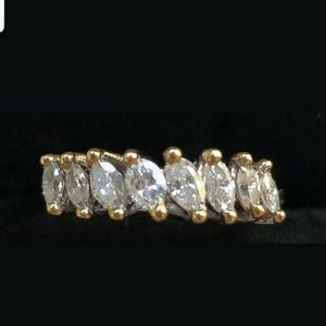 18k Gold .75ct Marquise Diamond Band Ring